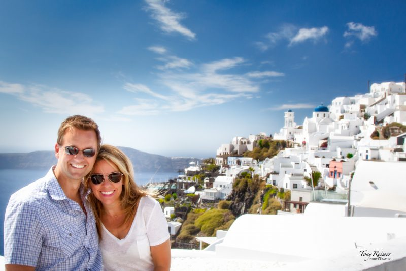 Tony and Tiffany Reimer, the Traveling Tooth Fairy and developer of a unique tooth fairy idea. Traveling in Santorini, Greece.